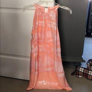 Silk and Sequin Halston Heritage Key Hole Dress